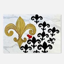 Black and Gold Fleur de l Postcards (Package of 8)