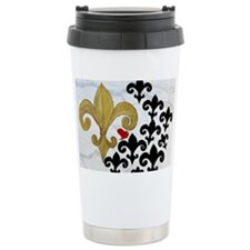 Black and Gold Fleur de lis par Travel Mug