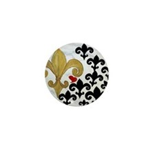 Black and Gold Fleur de lis party Mini Button