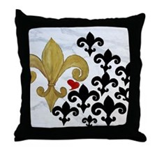 Black and Gold Fleur de lis party Throw Pillow