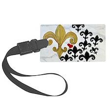 Black and Gold Fleur de lis part Luggage Tag