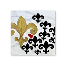 "Black and Gold Fleur de lis Square Sticker 3"" x 3"""