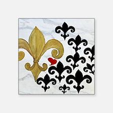 """Black and Gold Fleur de lis Square Sticker 3"""" x 3"""""""