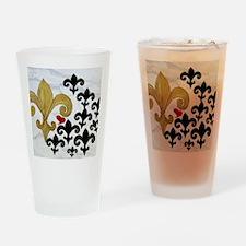 Black and Gold Fleur de lis party Drinking Glass