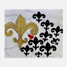 Black and Gold Fleur de lis party Throw Blanket