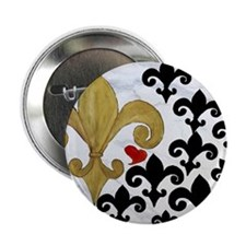 """Black and Gold Fleur de lis party 2.25"""" Button"""