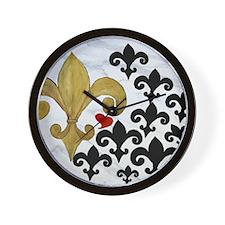 Black and Gold Fleur de lis party Wall Clock