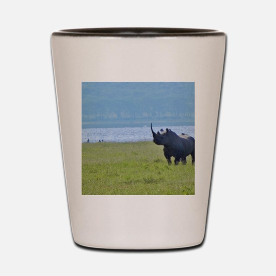 nakuru black rhino kenya collection Shot Glass