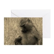 Thoughtful Baboon Sepia Greeting Card