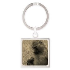 Thoughtful Baboon Sepia Square Keychain