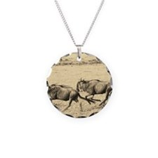 Wildebeest Crossing Sepia Necklace Circle Charm