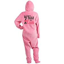 Sassy Pink and Black Kiss the Cook Footed Pajamas