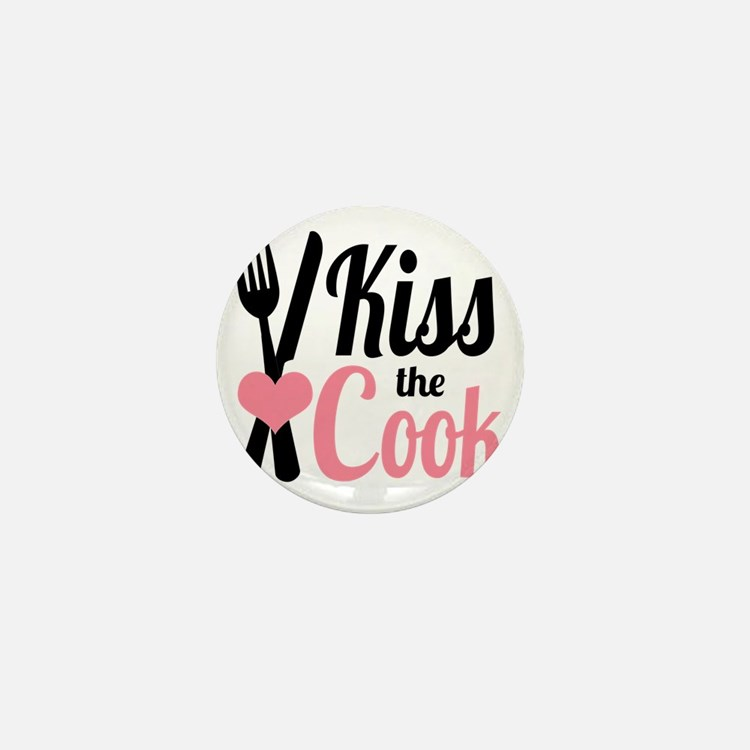 Sassy Pink and Black Kiss the Cook Mini Button
