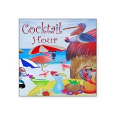 "Cocktail Hour Square Sticker 3"" x 3"""
