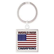 World War Champions Square Keychain