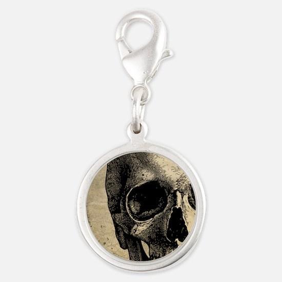 Vintage Skull Silver Round Charm
