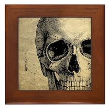 Vintage Skull Framed Tile