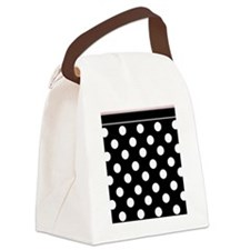 Black Polka Dot Pink Canvas Lunch Bag