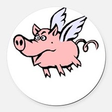 When Pigs Fly Round Car Magnet