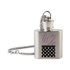 Black Polka Dot Purple Zebra Print Flask Necklace
