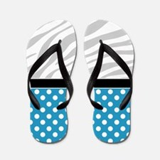 Blue Polka Dot Faded Zebra Print Flip Flops