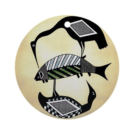 BIRDS FEEDING ON FISH BOWL DESIGN Ornament (Round)