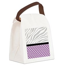 Purple Polka Dot Faded Zebra Prin Canvas Lunch Bag
