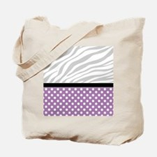 Purple Polka Dot Faded Zebra Print Tote Bag