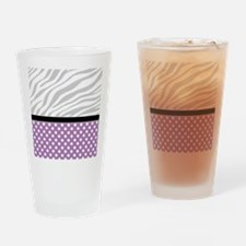 Purple Polka Dot Faded Zebra Print Drinking Glass