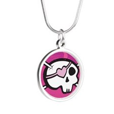 Pink Girl Skull Silver Round Necklace