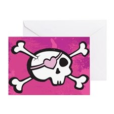 Pink Girl Skull Greeting Card