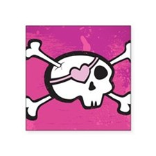 "Pink Girl Skull Square Sticker 3"" x 3"""