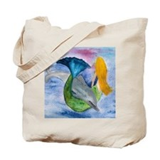 Playful Mermaid and Dolphin art Tote Bag