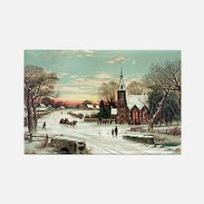 Vintage Christmas Winter Rectangle Magnet
