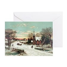 Vintage Christmas Winter Greeting Card