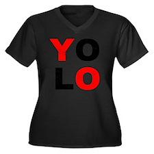 YOLO Women's Plus Size Dark V-Neck T-Shirt