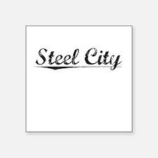 "Steel City, Vintage Square Sticker 3"" x 3"""
