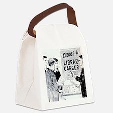 Retro Librarian Canvas Lunch Bag