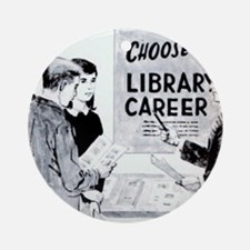 Retro Librarian Round Ornament
