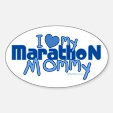 I Love My Marathon Mommy Oval Decal