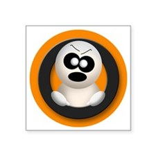 """Cute Angry Ghost Orange Square Sticker 3"""" x 3"""""""