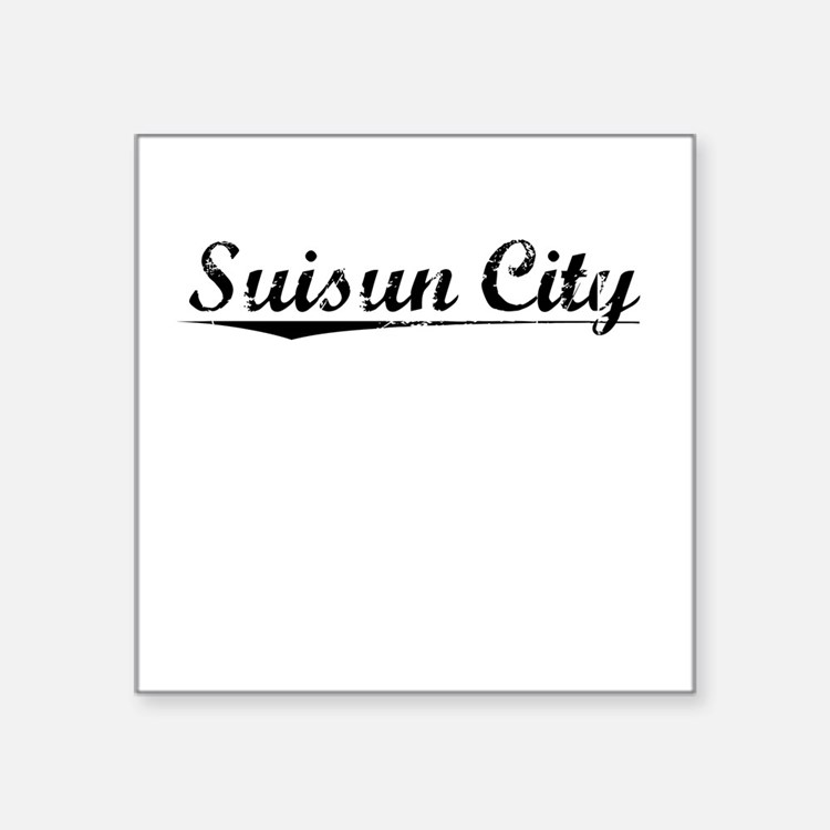 "Suisun City, Vintage Square Sticker 3"" x 3"""