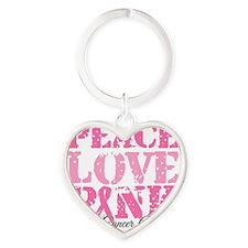Peace Love Pink - Breast Cancer Awa Heart Keychain