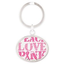 Peace Love Pink - Breast Cancer Awar Oval Keychain