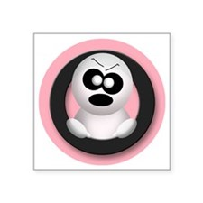 "Cute Angry Ghost Pink Square Sticker 3"" x 3"""