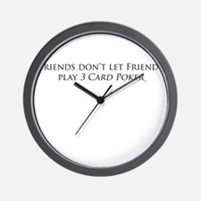 Friends and 3 card poker Wall Clock
