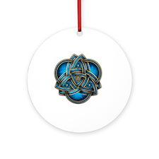 Blue Celtic Triquetra Round Ornament