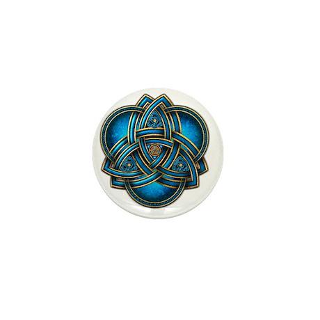 Blue Celtic Triquetra Mini Button