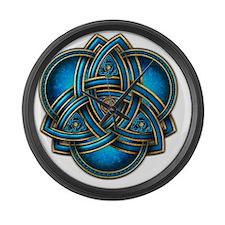 Blue Celtic Triquetra Large Wall Clock