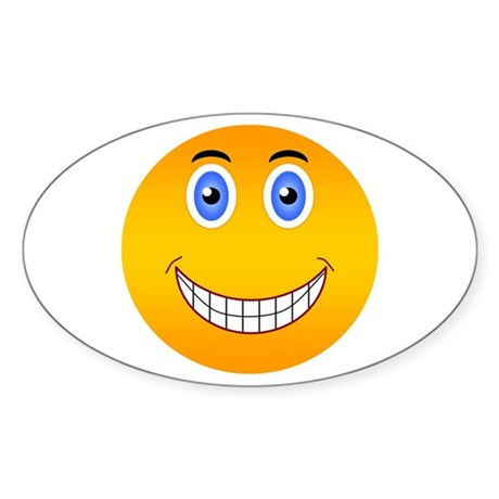Happy Smiley Oval Sticker